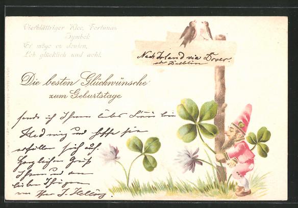 Präge-Lithographie Glückwünsche zum Geburtstage, Vierblättriger Klee..., Vögel auf Wegweiser und Zwerg