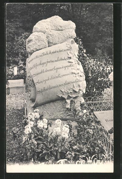AK Asnières, Cimetière des Chiens, Hundefriedhof, Grabstein mit Inschrift