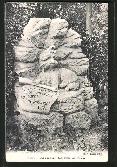 AK Asnières, Cimetière des Chiens, Hundefriedhof, Grabstein von Toutoune