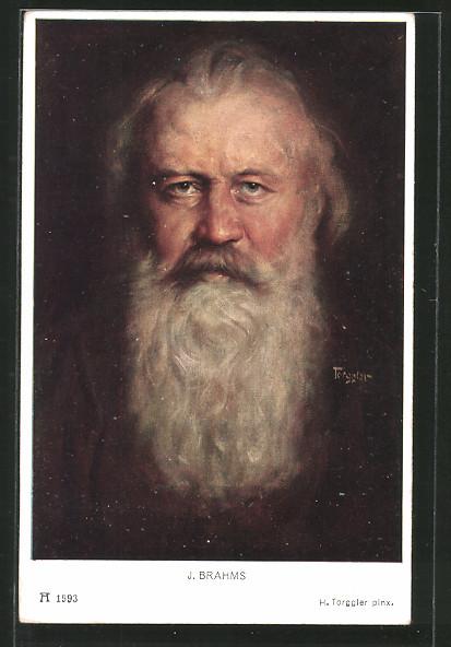 Künstler-AK Portrait des Komponisten J. Brahms