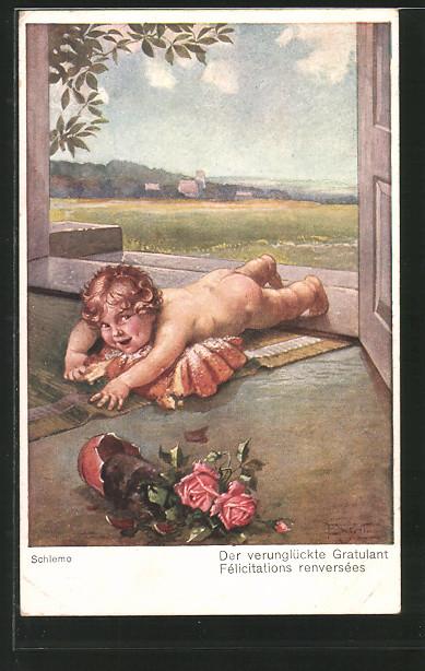 Künstler-AK Ernst Schlemo: Der verunglückte Gratulant, kleiner Nackedei auf Türschwelle
