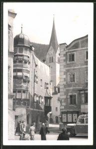 Foto-AK Rattenberg, Strasse mit Gasthof Stern und Blick zur Kirche