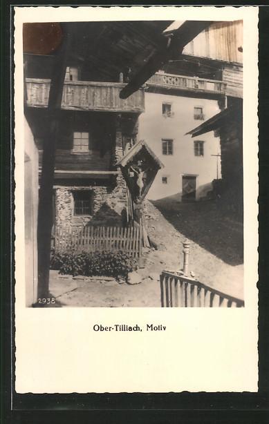 AK Ober-Tilliach, Ortsansicht, Flurkreuz