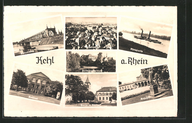 AK Kehl, Rheinbrücken, Falkenhausenschule, Rathaus, Kehldorf, Bahnhof