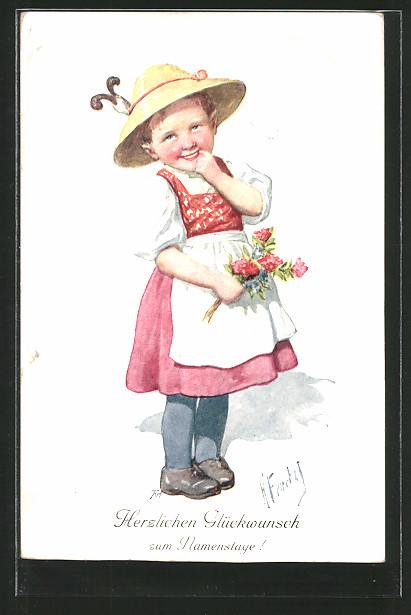 Künstler-AK Karl Feiertag: Kleines Mädchen mit Hut und Blumen