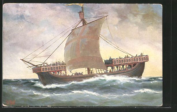 Künstler-AK Christopher Rave: Englisches Kriegsschiff auf hoher See, 13. Jahrhundert