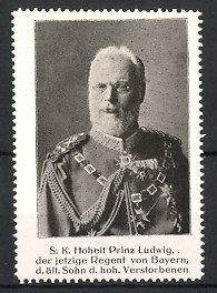 Reklamemarke Portrait Prinz Ludwig von Bayern in Paradeuniform