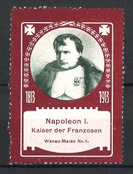 Reklamemarke Portrait Napoleon I. Kaiser von Frankreich