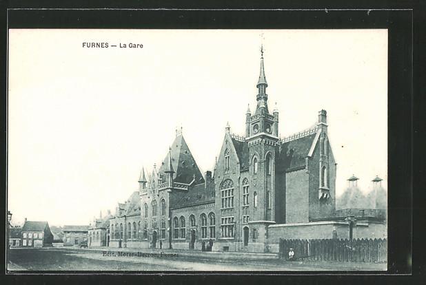 AK Furnes, la Gare, Blick zum Bahnhof