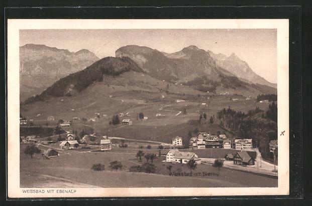 AK Weissbad, Ortsansicht mit Ebenalp