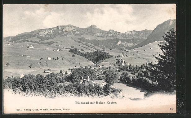 AK Weissbad, Ortspanorama mit Hoher Kasten