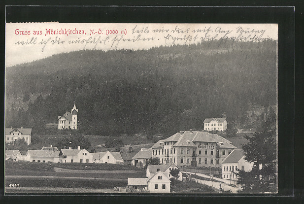 AK Mönichkirchen, Ortspartie mit Hotel Lang