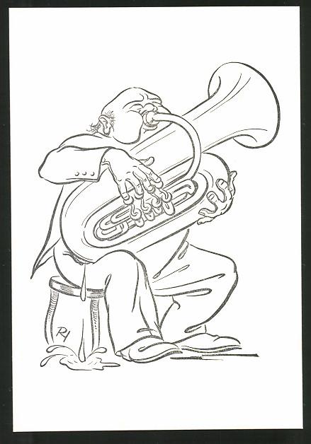 Künstler-AK Karikatur, Musikant spielt Tuba und schwitzt dabei stark