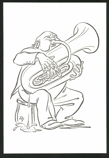 Künstler-AK Karikatur, Tubabläser schwitzt stark beim Spielen