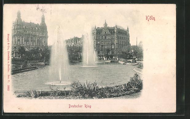 Relief-AK Köln-Neustadt, Deutscher Ring mit Springbrunnen