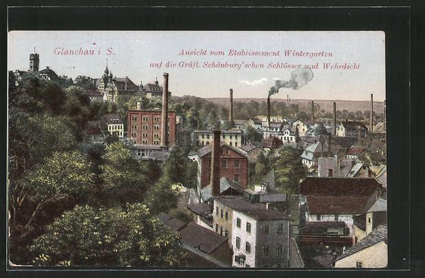 AK Glauchau, Ansicht vom Etablissement Wintergarten auf die Grafl. Schönburg'schen Schlösser und Wehrdicht