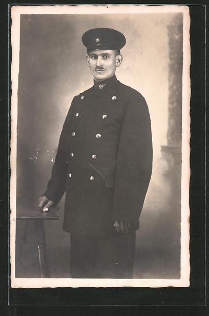 Foto-AK Eisenbahner in Uniform, Militärbahn