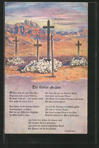 Künstler-AK Die fernen Gräber, Kolonialkriegerdank, Deutsche Soldatengräber in Südwestafrika