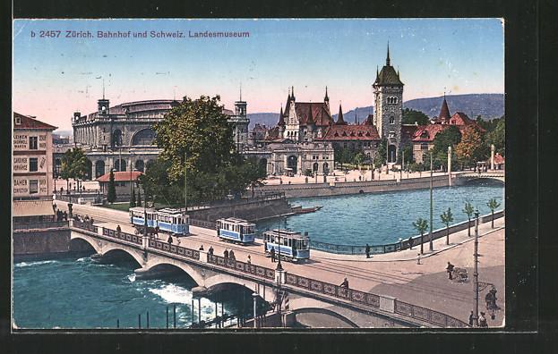 AK Zürich, Strassenbahnen auf der Bahnhofbrücke mit Blick zum Bahnhof
