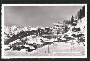 AK Arveyes, Vue générale et les Alpes Valaisannes