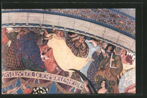 AK Le Locle, Hôtel de ville, fragment de la fresque Bieler
