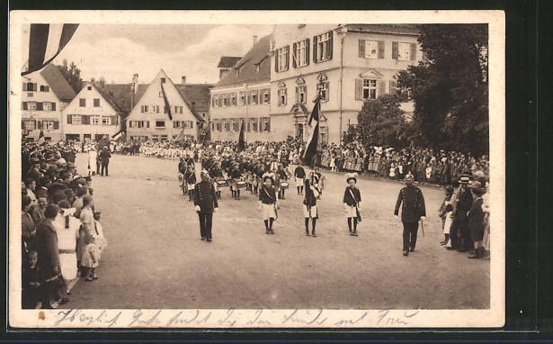 AK Biberach, Spitze des Festzuges beim Schützenfest, Schützenverein
