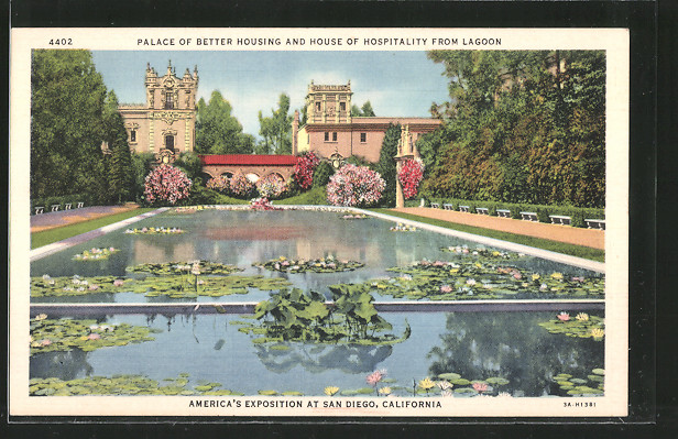 AK San Diego, America's Exposition, Palace of Better Housing and House of Hospitality from Lagoon