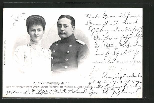 AK Vermählungsbildnis des Grossherzogs Wilhelm Ernst von Sachsen-Weimar-Eisenach u. Prinzessin Caroline v. Reuss ä.L.