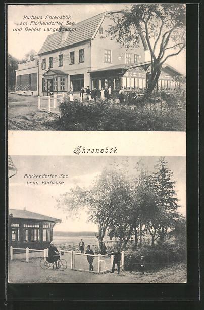 AK Ahrensbök, Kurhaus Ahrensbök am Flörkendorfer See und Gehölz Langendamm, Partie am Flökendorfer See