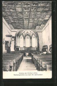 AK Zillis, Inneres der Kirche mit Deckengemälde aus dem 12. Jahrhundert