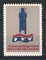 Reklamemarke Prag, Prager Mustermesse, Turm & Messelogo