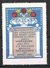 Reklamemarke Würzburg, XI. Verbandstag des Verbandes der Rabatt-Sparvereine Deutschlands 1913, Blumenschale