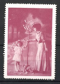 Reklamemarke Dienstmädchen & niedliches Mädchen mit Blumen