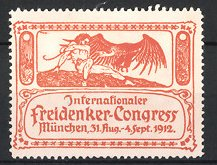 Reklamemarke München, Internationaler Freidenker-Kongress 1912, Mann mit gesprengten Ketten wehrt sich gegen Geier