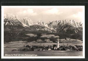 AK Ellmau, Ortsansicht mit dem Kaisergebirge