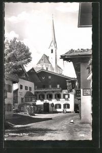 AK Kirchberg, Teilansicht mit Gasthof Unterm Rain, Kirche