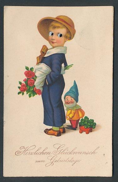 Glasaugen-AK Kind mit einem Rosenstrauss, Zwerg mit einem Wagen voller Kleeblätter, Geburtstag