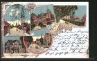 Lithographie Ahaus, Marktplatz, Schloss, K�nigl. Landrathsamt, Bahnhofstrasse