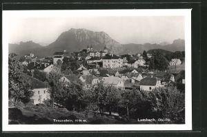 AK Lambach, Ortsansicht mit Traunstein