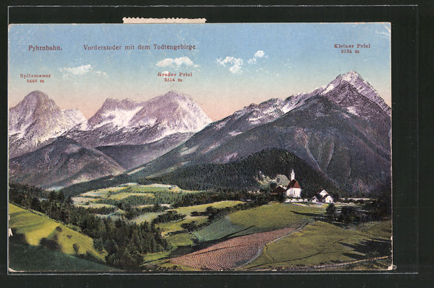 AK Vorderstoder, Ortsansicht mit dem Todtengebirge