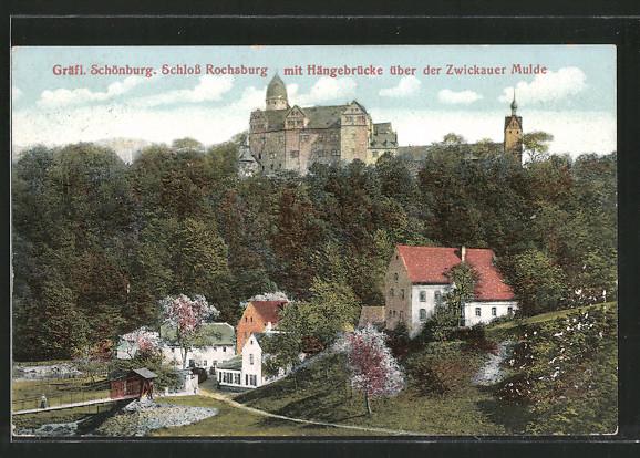 AK Rochsburg, Schloss Schönburg mit Hängebrücke über der Zwickauer Mulde