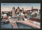 AK Bautzen, Spree mit Wehr, alter Wasserkunst und wend. ev. Kirche