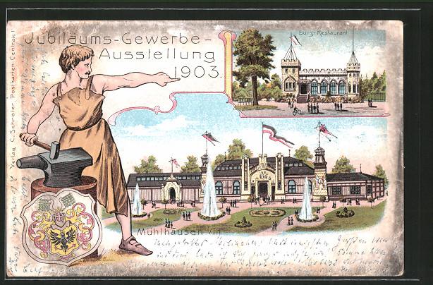 Lithographie Mühlhausen, Jubiläums-Gewerbe-Ausstellung 1903, Burg-Restaurant, Ausstellungsgelände