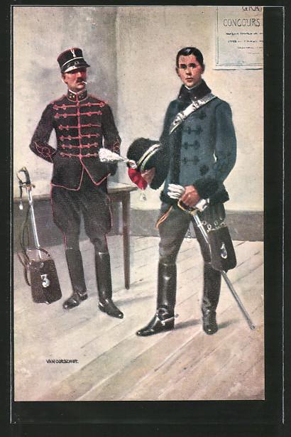 Künstler-AK Cavalerie, Officieren, Offiziere der niederländischen Kavallerie