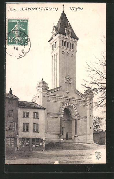 AK Chaponost, l'Eglise, Blick zur Kirche