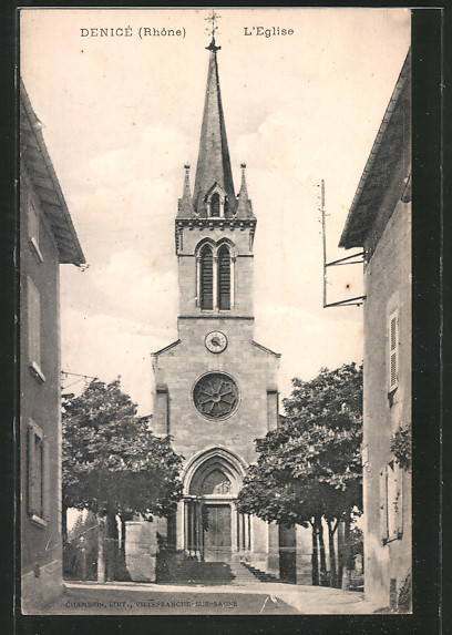 AK Denicé, l'Eglise, Blick zur Kirche