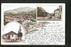 Lithographie Trebinje, Moschee mit Minarett, Strassenpartie, Gesamtansicht, Pferdekutsche