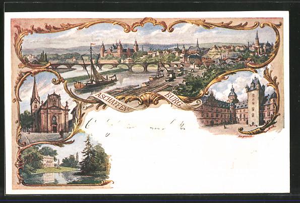 Künstler Aschaffenburg künstler ak aschaffenburg schloss schönbusch kirche stadtpanorama