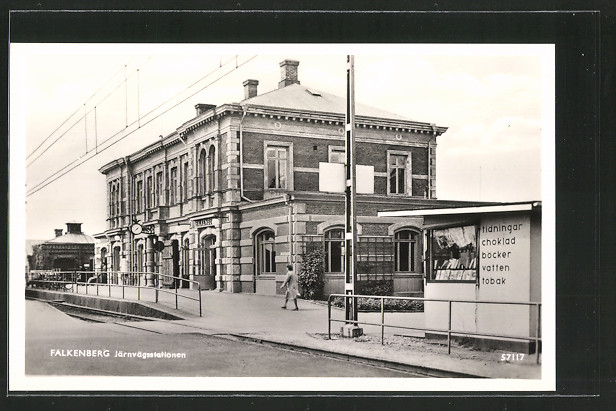 AK Falkenberg, Järnvägsstationen, Bahnhof mit Kiosk