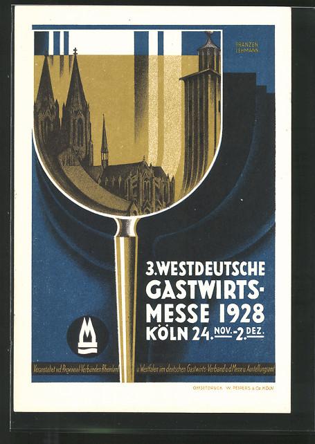 Künstler-AK Köln, 3. Westdeutsche Gastwirts-Messe 1928, Dom, Glas